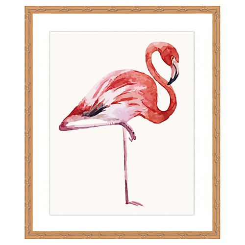 Watercolor Flamingo Print I