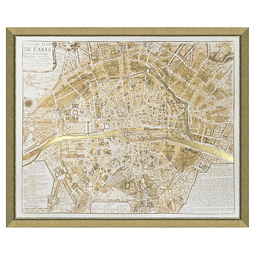 Real Gold Leaf Paris Map
