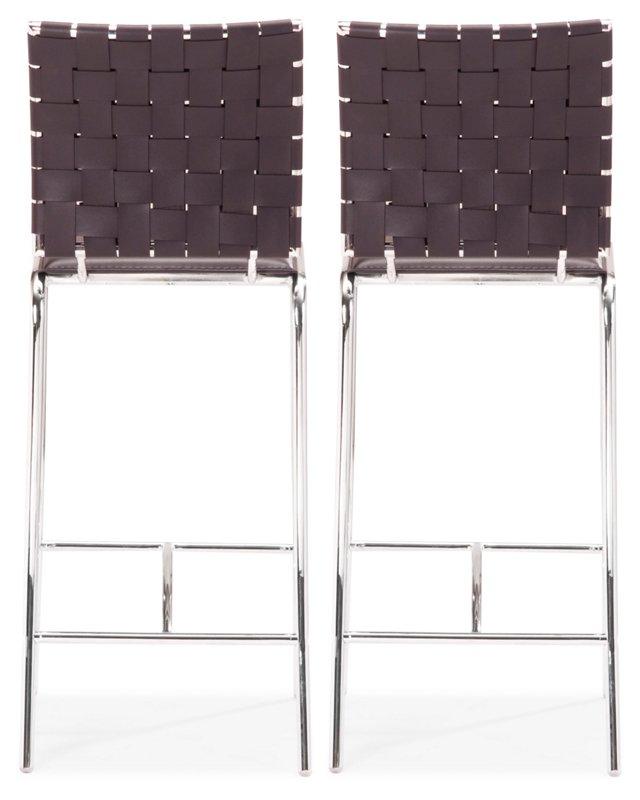 Espresso Criss Cross Counter Chair, Pair