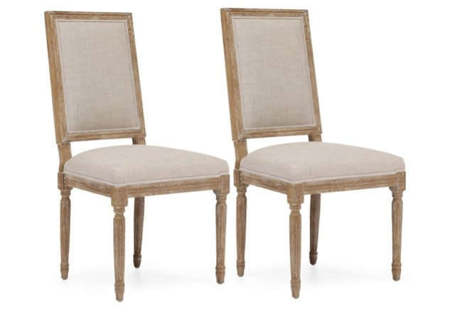 Beige Cole Chairs, Pair