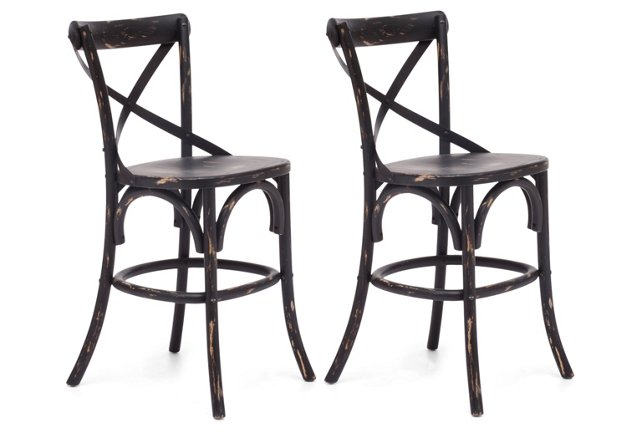 Black Allen Counter Stools, Pair
