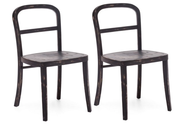 Black Cooper Chairs, Pair