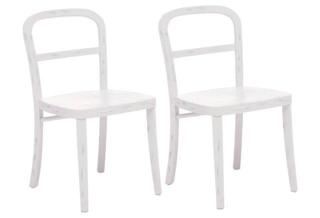 White Cooper Chairs, Pair