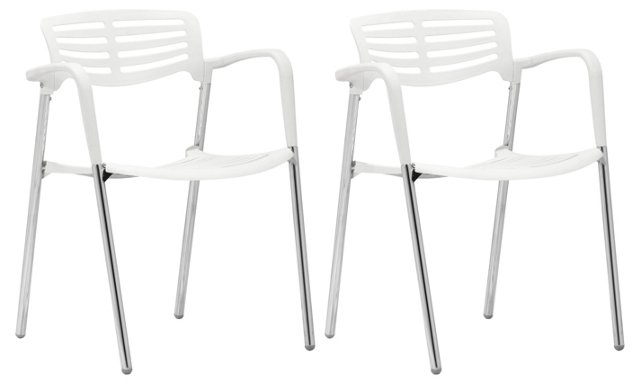 White Scope Dining Chairs, Set of 4