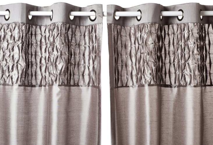 """Bedford 84"""" Curtain Panel, Silver"""