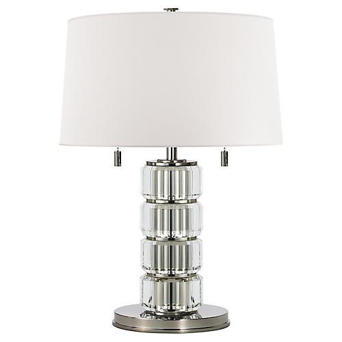 Brookings Table Lamp, Crystal/Nickel