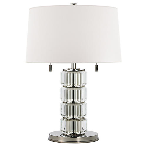 Brookings Table Lamp, Crystal/Nickel
