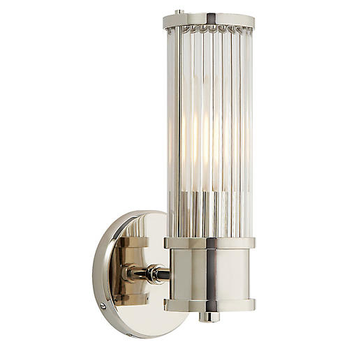 Allen Single Sconce, Nickel/Clear