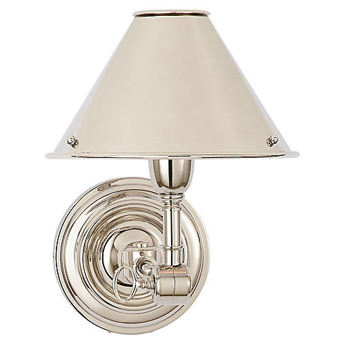 Anette Single Sconce, Polished Nickel