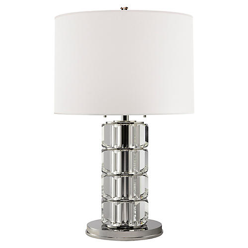 Brookings Large Table Lamp, Crystal/Nickel