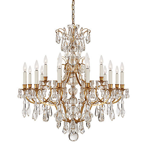 Antoinette 18-Light Chandelier, Brass/Crystal