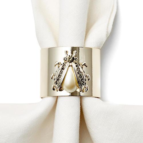 S/2 Pearl w/ Black Diamond Napkin Rings