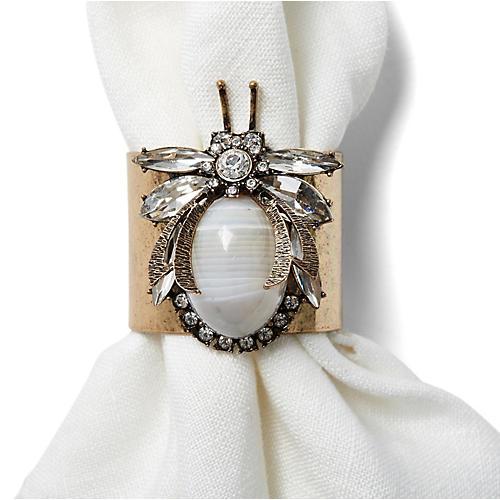 S/2 Vintage-Style Bug Napkin Rings