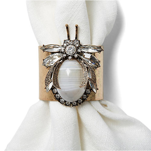 S/2 Vintage-Style Bug Napkin Rings