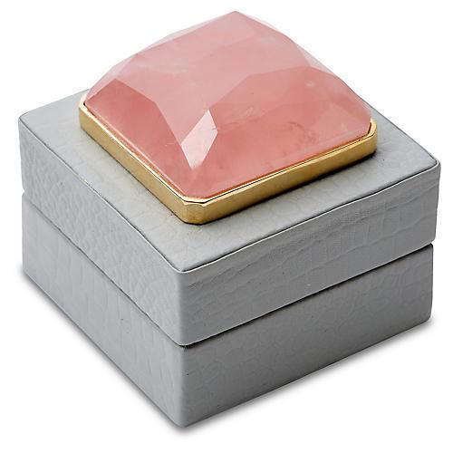 "3"" Leather Box w/ Stone, Pale Gray"