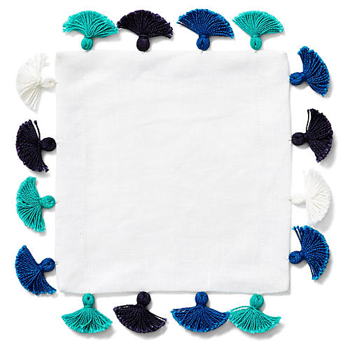 S/4 Tassel Cocktail Napkins, White/Blue
