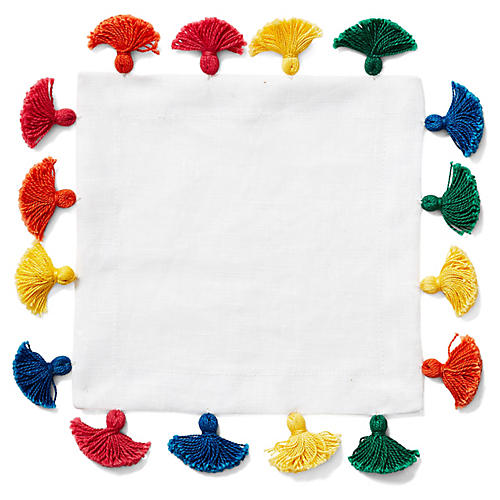 S/4 Tassel Cocktail Napkins, White/Multi