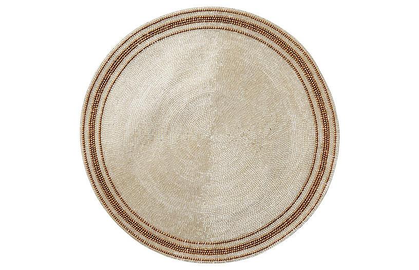 Stripe Place Mat, Silver/Gold