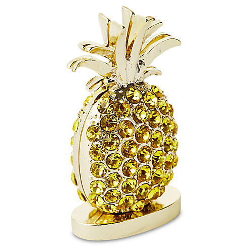 S/2 Pineapple Place-Card Holders, Gold/Yellow