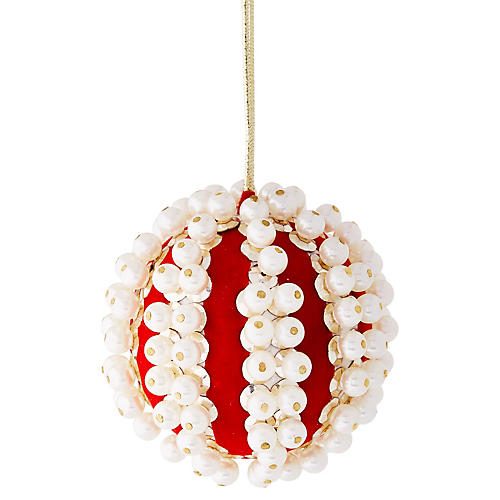 Pearl Ball Ornament, Red