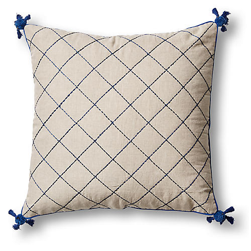 Tassel Quilted 20x20 Pillow, Navy/Natural Linen