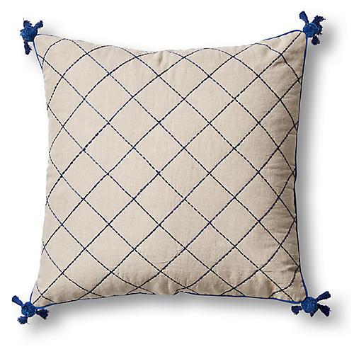 Tassel Quilted 20x20 Pillow, Navy/Natural Linen