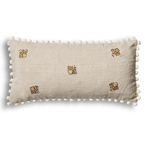 Emb Bee Pom-Pom 10x20 Pillow, Natural Linen