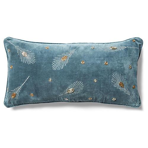 Embroidered 10x20 Lumbar Pillow, Slate Gray Velvet