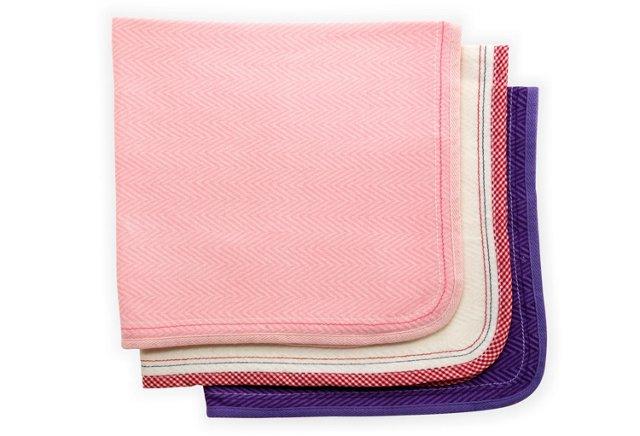 Set of 3 Assorted Burp Cloths, Pink