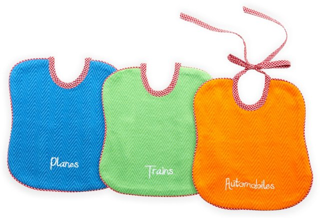 S/3 Assorted Bibs, Blue/Green/Orange