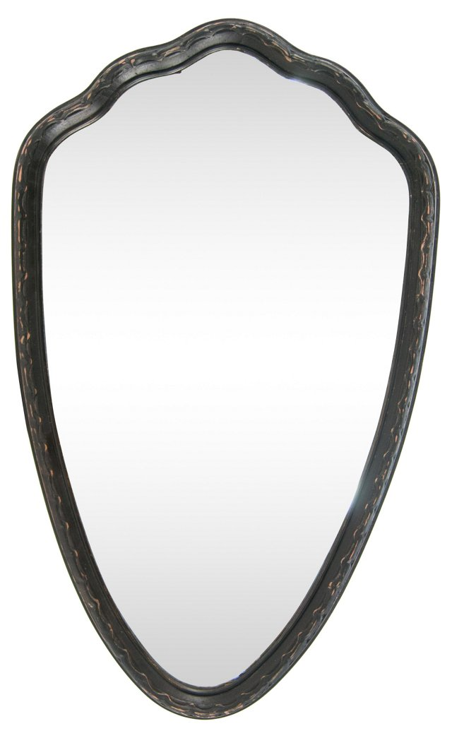 Antique King's Crest Wall Mirror, Black