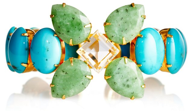 Turquoise & Chrysoprase Flower Cuff