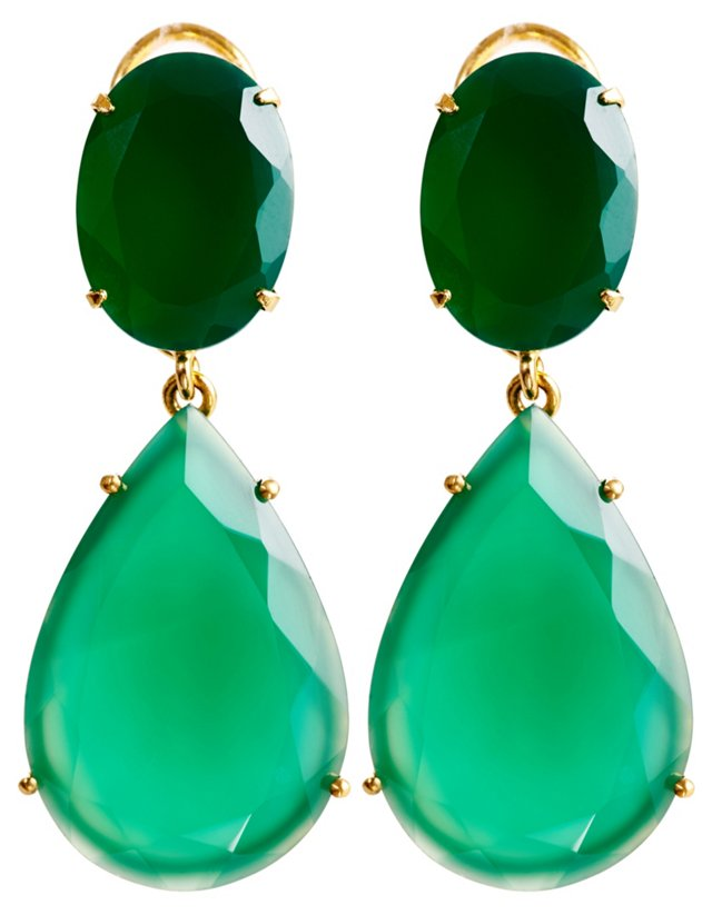Green Onyx Faceted Oval Earrings, Post