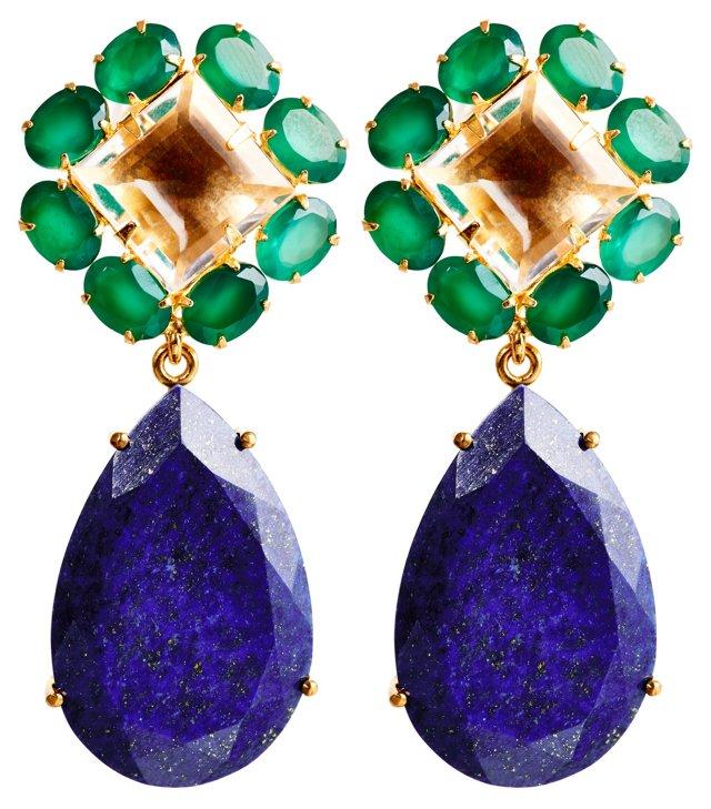 Green Onyx & Clear Quartz Earrings, Post