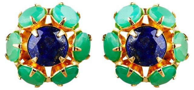Chrysoprase & Lapis Post Earrings