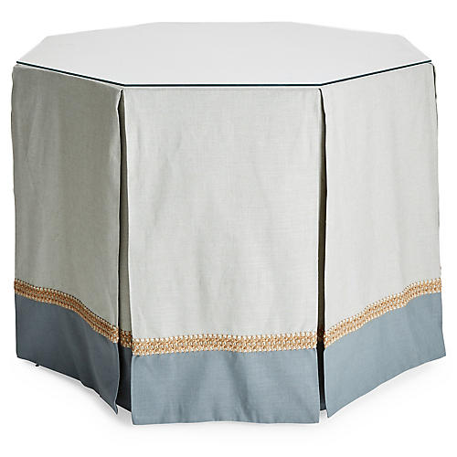 Eden Octagonal Skirted Table, Teal/Mist