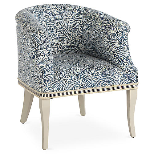 Selby Club Chair, Blue/White