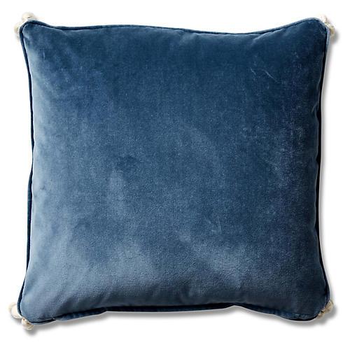 Andria 19x19 Pillow, Harbor Blue Velvet