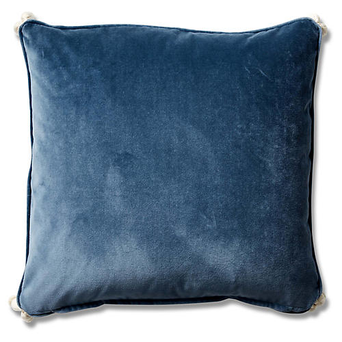 Andria 19x19 Pillow, Harbor Blue Velvet