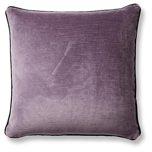 Eliza 20x20 Pillow, Aubergine/Mauve Velvet
