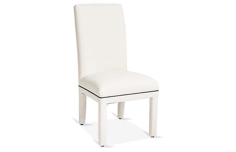 Monroe Side Chair, White/Navy Crypton