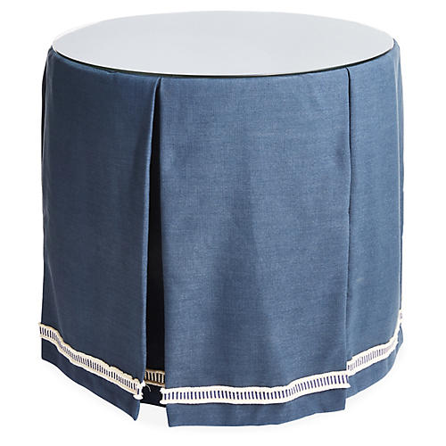Eden Round Skirted Table, Navy