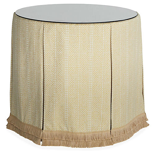 Eden Round Skirted Table, Marigold/Beige