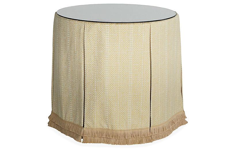 Eden Round Skirted Table, Marigold/Beige