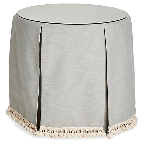 Eden Round Skirted Table, Mist/Ivory