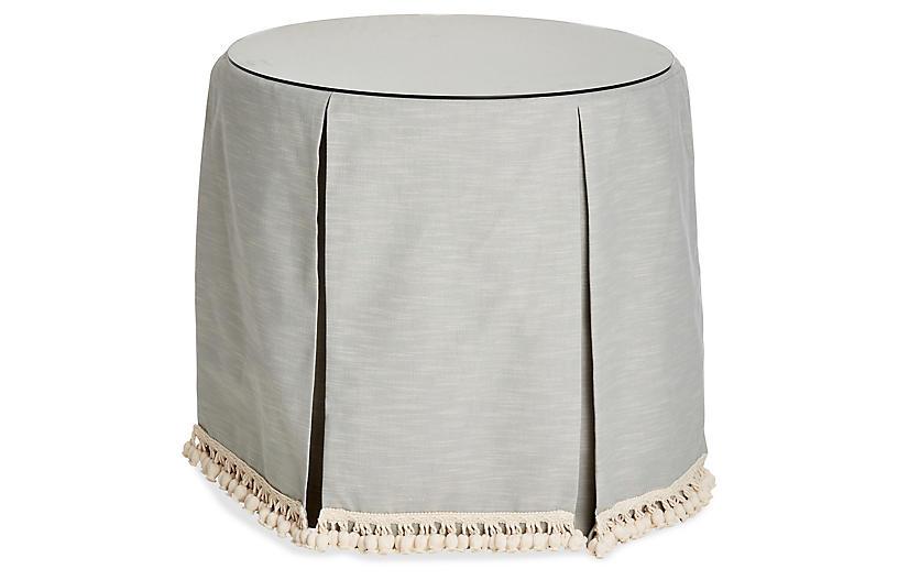 Eden Round Skirted Table, Mist/Ivory