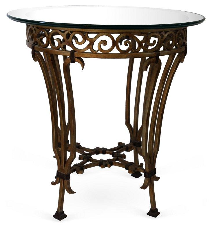 Vintage Metal & Glass Side Table