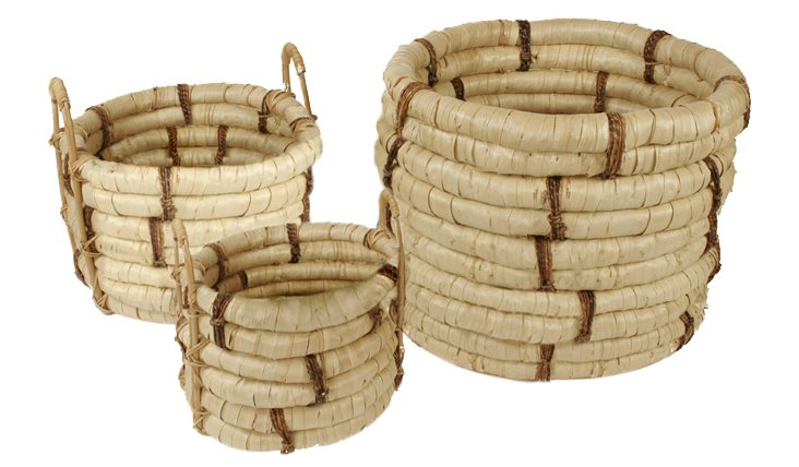 S/3 Planters, Natural