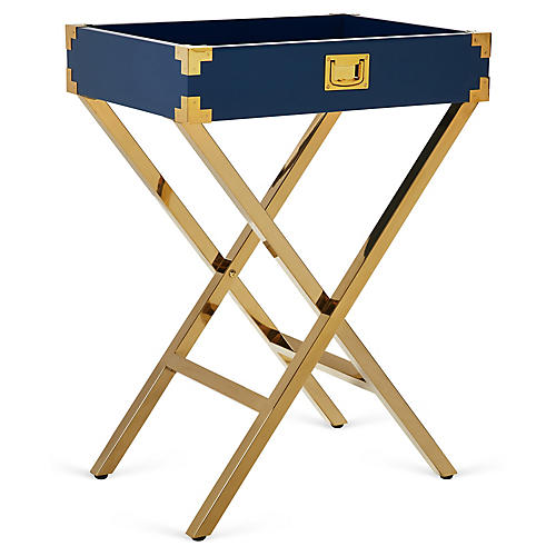 Hayden Campaign-Style Tray Table, Navy
