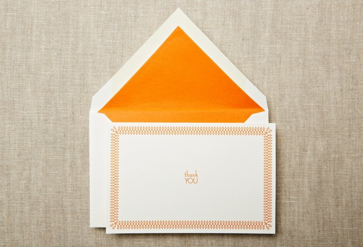 S/20 Tangerine Picot Thank You Notes